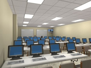 Animation of the new computer lab in the renovated building.